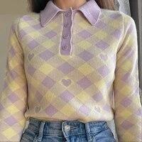womens turtleneck y2k cute knit crop tops long sleeve lattice heart splice button blouse winter college style womens sweater