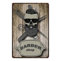 retro style shaves cuts barber shop metal sign tin poster home decor bar wall art painting
