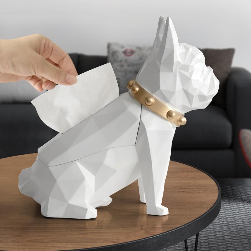 Resin Creative Black Dog Figurine Tissue Holder Craft For Kitchen Room Table Living Modern Room Decoration Geometric Tissue Boxs