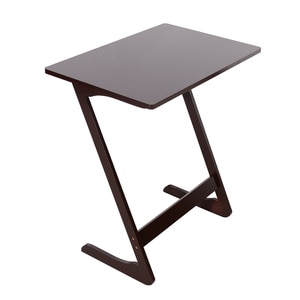 Z-Shaped Bamboo Sofa Side Table Notebook Study Desk 60x40x65cm Coffee/Sandal Wood Color[US-Stock]