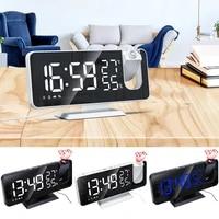 led digital alarm clock watch table electronic desktop clocks usb wake up fm radio time projector snooze function 2 alarm