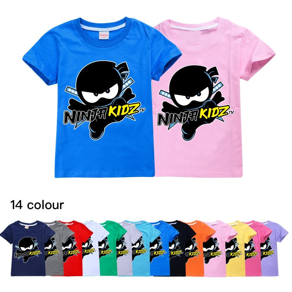 Ninja Kidz B Kids Clothes Cotton Short-sleeved T-shirts  Children Sweatshirt Cartoon Teenager Tops Boys Girls Clothing