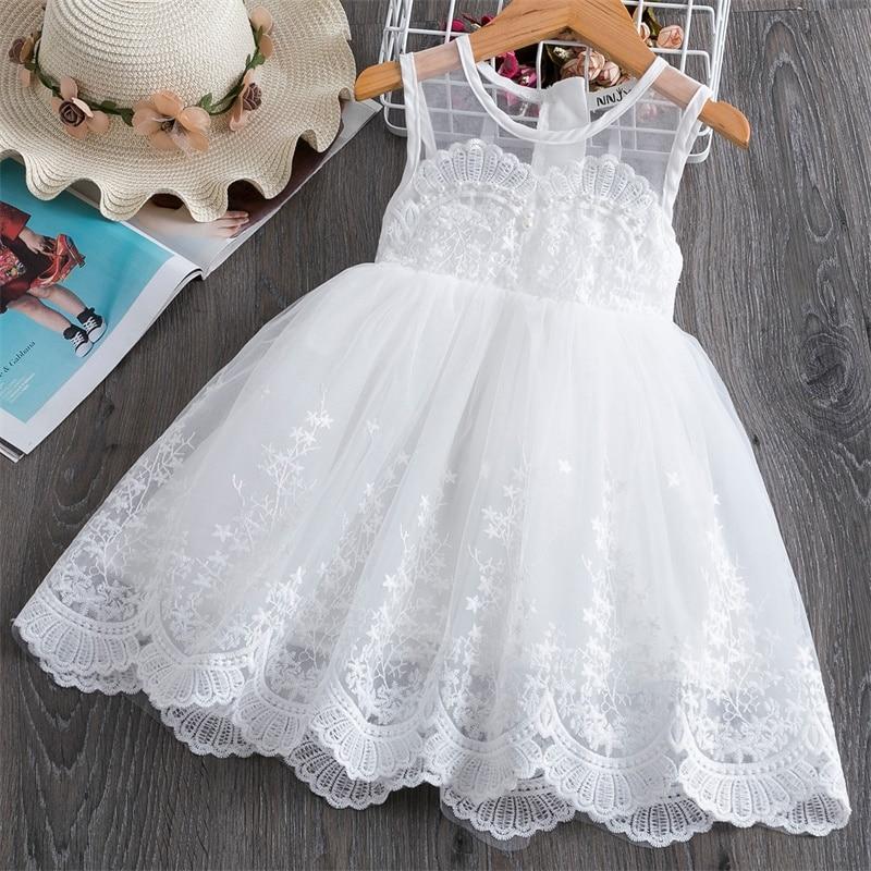 Летнее платье для девочек; Вечерние Платья с цветочным рисунком для маленьких девочек; Кружевные вечерние платья без рукавов для девочек; Повседневная праздничная одежда; Vestidos