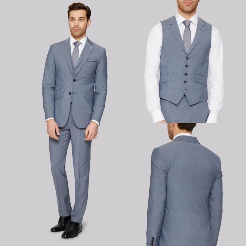 بدلة رجالية غير رسمية ذكية مصنوعة حسب الطلب بجيب محزز وبدلة رجالي مكونة من 3 قطع (سترة + بنطلون + جاكيت)