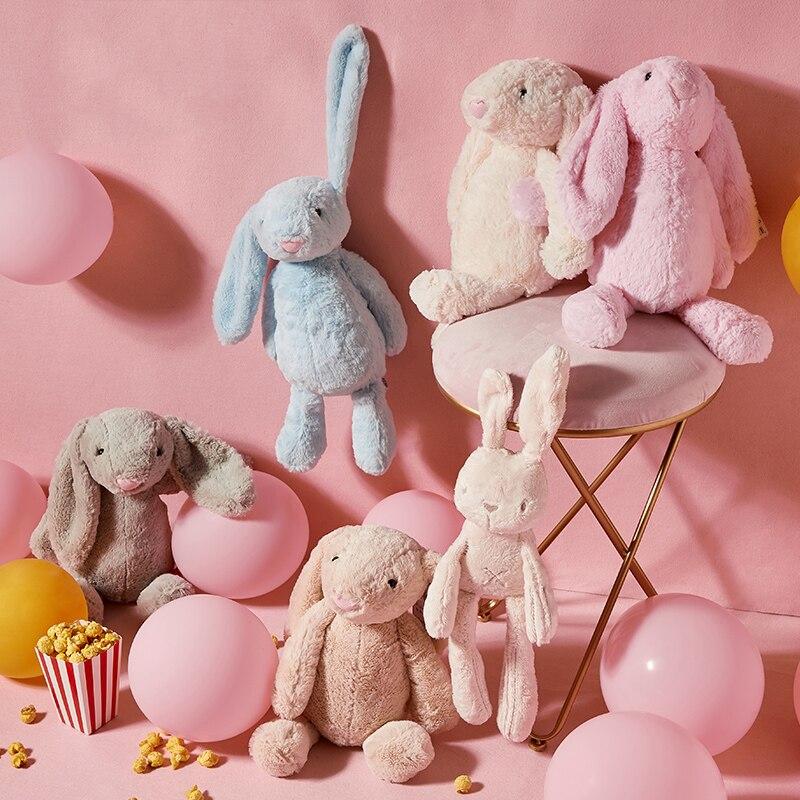 Long Ears Bunny Rabbit Plush Toys For Babies Appease Doll Cartoon Animals Plush Stuffed Toys Baby Sleeping Toy Bunny Doll недорого