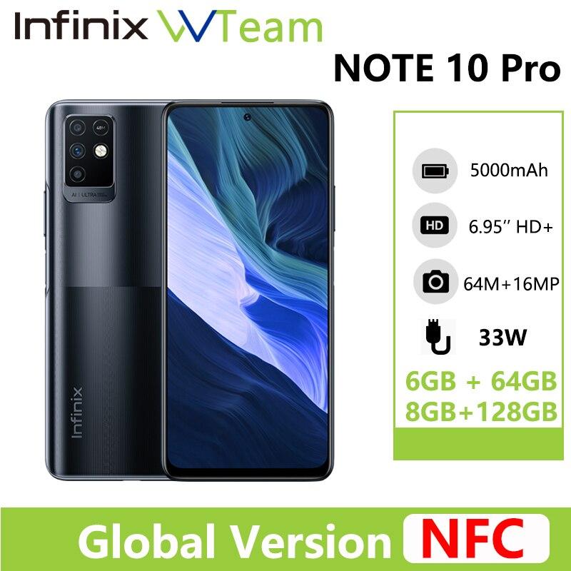 هاتف انفينيكس نوت 10 برو NFC يدعم شاشة 6.95 بوصة هاتف هيليو G95 كاميرا 64MP 33 وات شحن فائق بطارية 5000 ميللي امبير النسخة العالمية