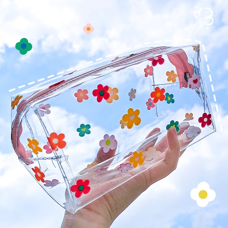 Multifunction Cosmetic Bags Cute Waterproof Transparent Storage Pouch PVC Zipper Travel Makeup Organizer Clear Case Toiletry Bag