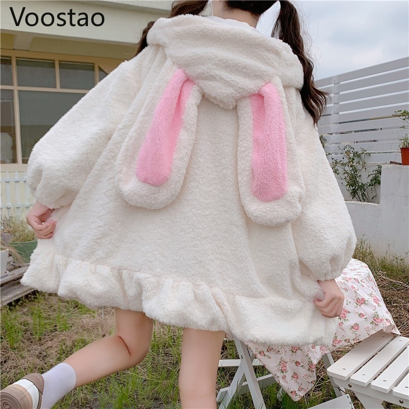 Japanese Style Autumn Winter Women Sweet Warm Jacket Kawaii Soft Lambswool Ruffles Rabbit Ears Hooded Coats Girls Parkas Outwear