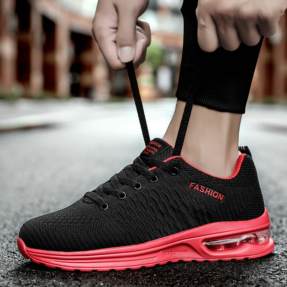 Newbeads Men's Running Sneakers Lace Up Air Cushion Soft Sole Knit Outdoor Non-Slip Casual Sports Shock Absorbing Athletic Shoe