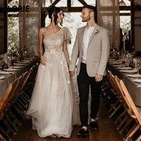 lorie vintage wedding dresses one shoulder appliques tulle lace backless boho bride gown 2021 vestidos de novia