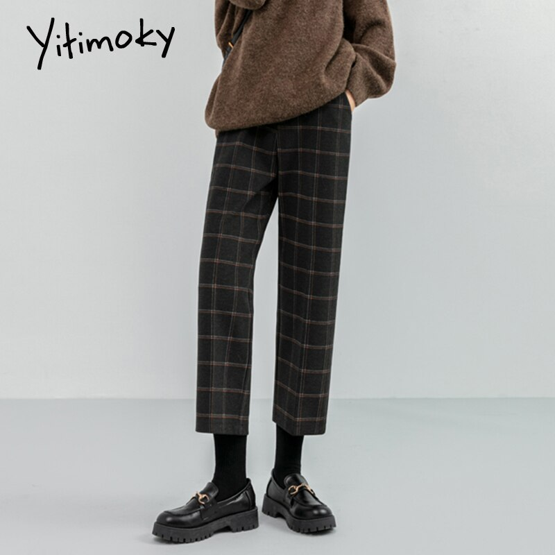 Yitimoky lã xadrez calças femininas streetwear do vintage de volta cintura elástica plus size calças para as mulheres outono inverno calças quentes