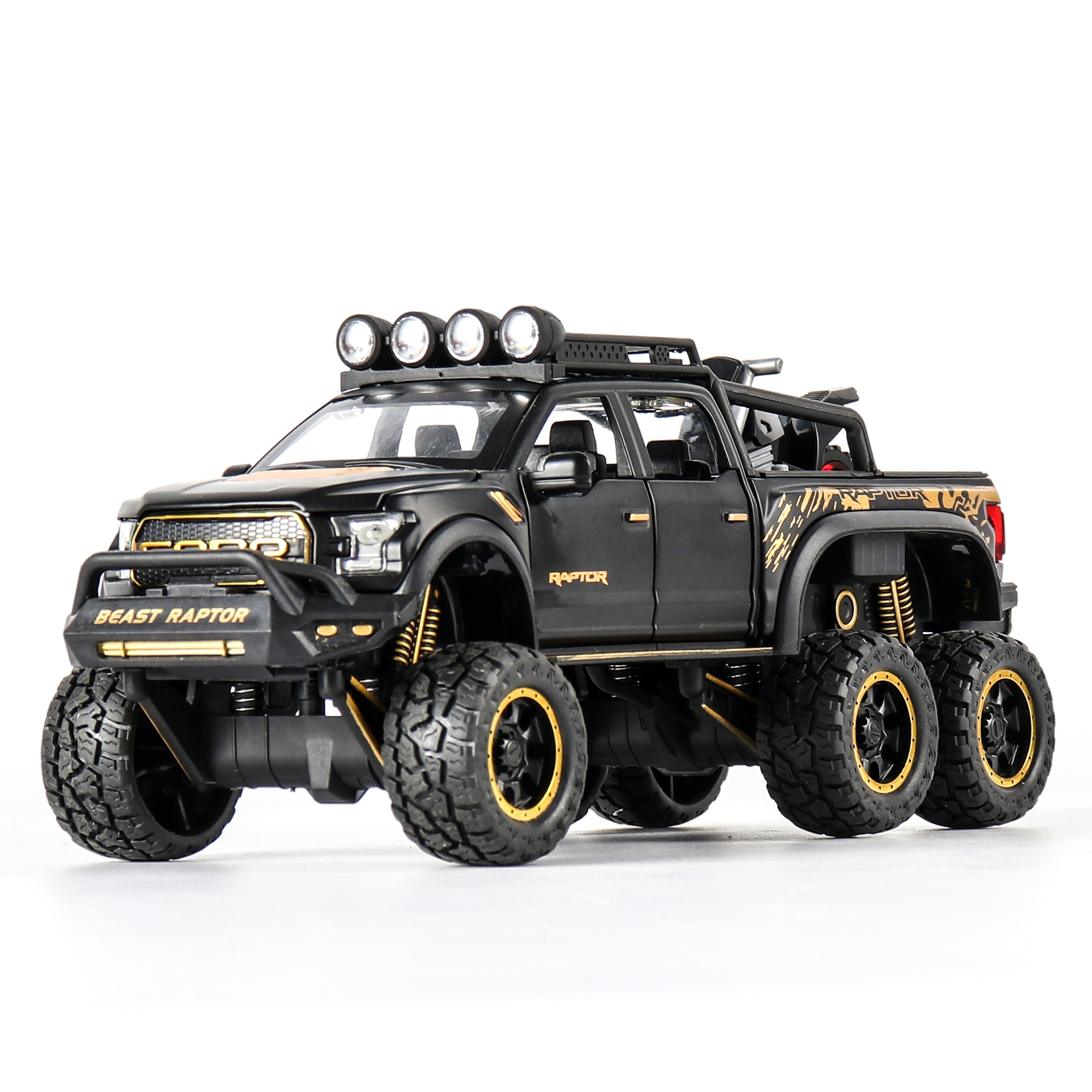 1:28 Diecast SUV FORD RAPTOR Metal Model Car Toy Wheels Alloy Vehicle Sound And Light Pull Back Car Boy Kid Toys Christmas Gift 1 24 diecast car model metal toy vehicle suv alloy car wheels sound and light doors open pull back car boys toys cars kids gift