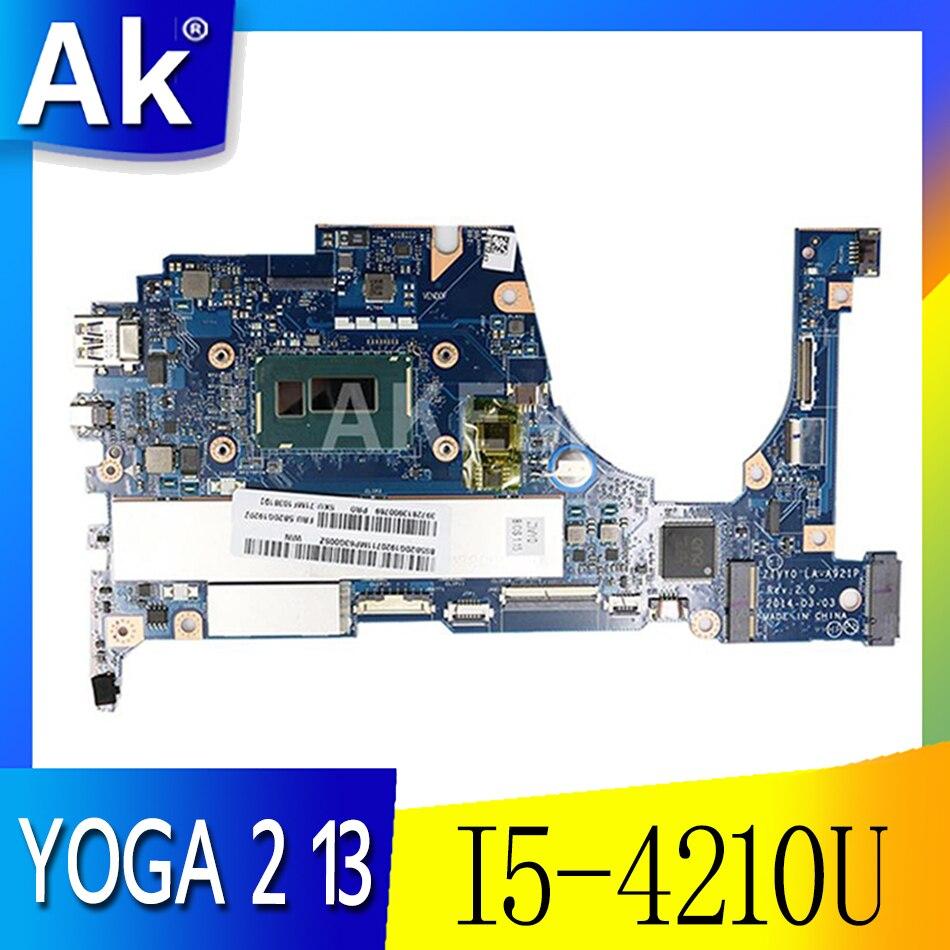 لينوفو اليوغا 2 13 اللوحة الأم للكمبيوتر المحمول FRU 5B20G19207 LA-A921P مع I5-4210U 1.70GHz وحدة المعالجة المركزية 8GB RAM الأصلي mothebroard