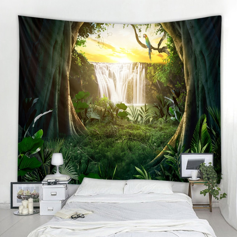 Waterfall tapestry beautiful waterfall background printing wall hanging tapestry bohemian hippie tapestry home decoration недорого