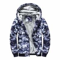 camouflage military outdoor bicycle mountaineering fishing skiing coat wool liner fleece zipper men hooded hoodies sweatshirts