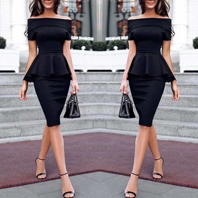 Women Dress Elegant Sexy Slash Neck Package Hip Ruffles Dress Fromal OL Office Work Sheath Solid Dresses Vestidos Plus Size