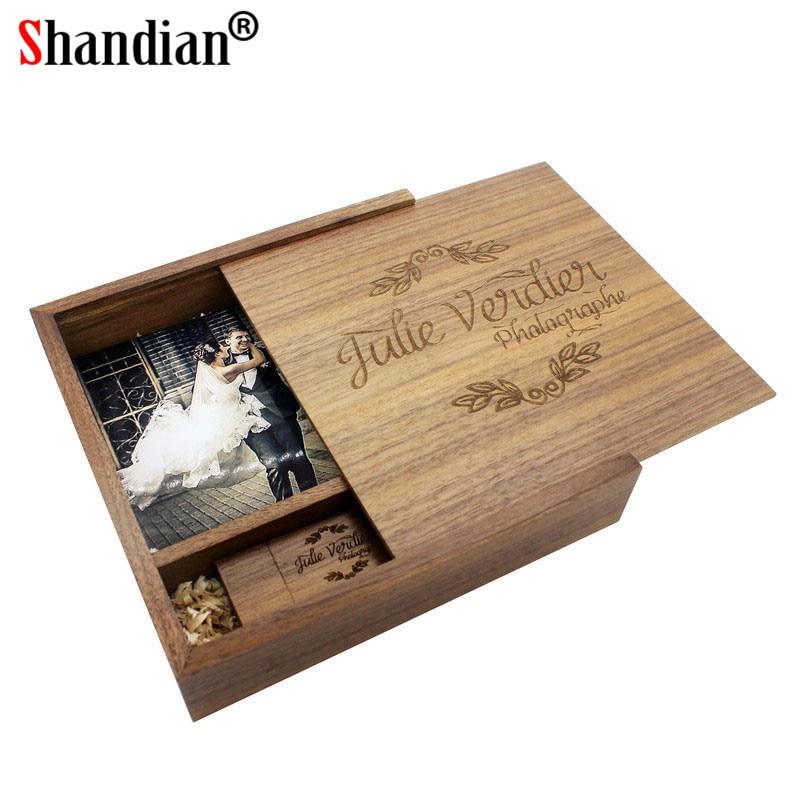 SHANDIAN free custom logo Walnut Wood Photo Album guitar usb+Box USB 2.0 Memory card Pendrive 16GB 32GB Photography Wedding gift