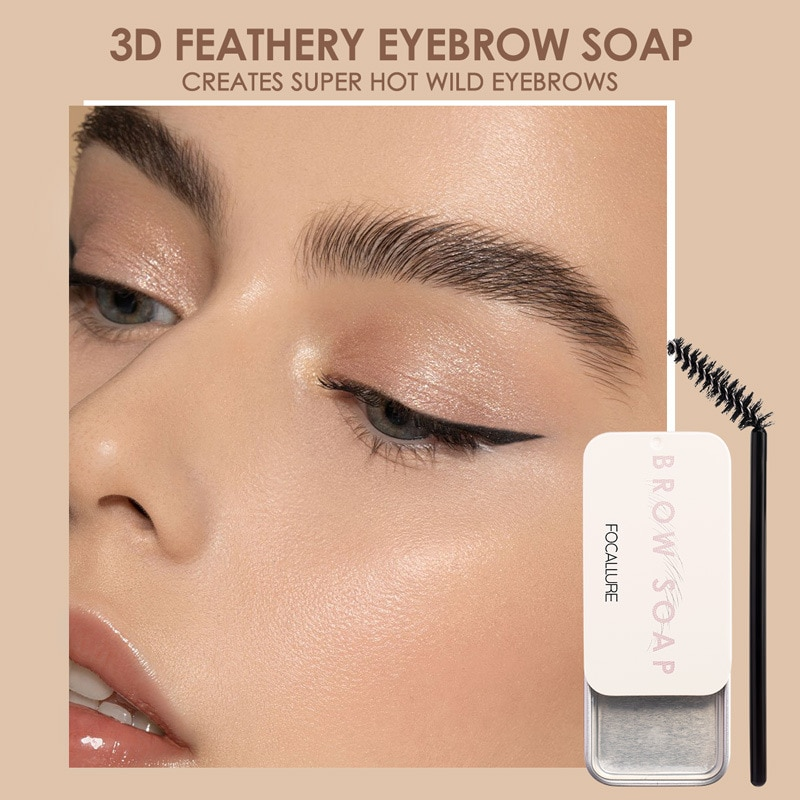 FOCALLURE Brows Wax Long Lasting Soap Brows Eyebrow Cream Tattoo Dye Tint Eyebrow Enhancers Brush Makeup Gel Kit maquillaje TSLM