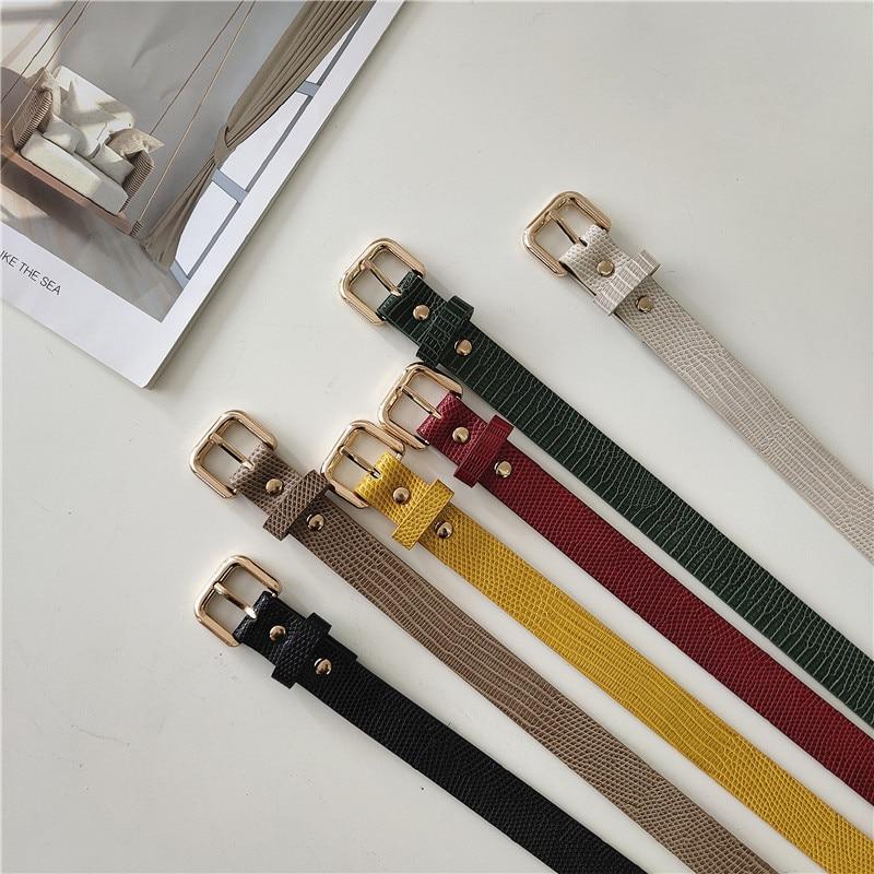 Small Bag Belt Women's Crocodile Pattern Metal Korean Style Dress All-Match Belt Decoration Jeans St