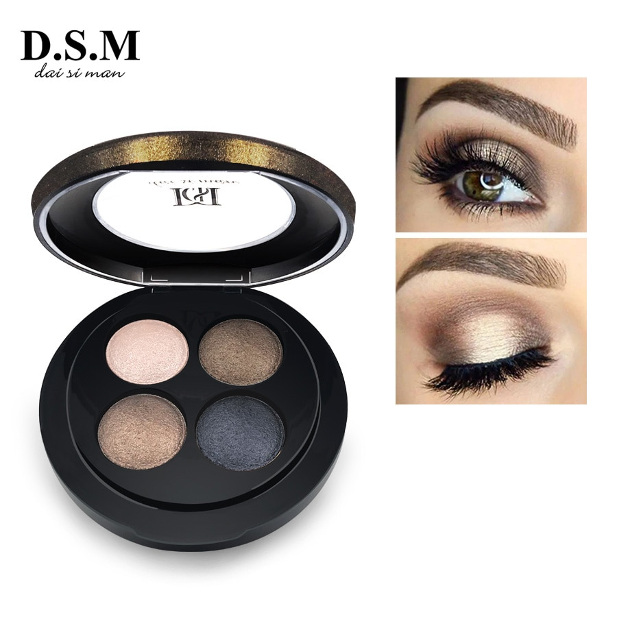 D.s.m marca nova mineralize eyeshadow 4 cores à prova dwaterproof água sombra de olho maquiagem metálico luminosa sombra pallete
