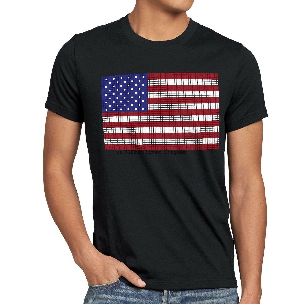 Eua bandeira 8-bit pixel camiseta masculino eua estrelas listras estados unidos csi