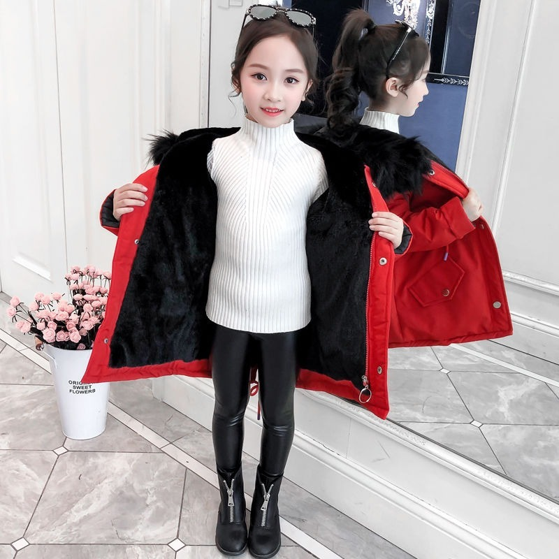 Girls Winter Coat 2020 New Child Mid Length Thick Jacket and Velvet Cotton Coat Children Winter Clothing Clothes for Girls 11T enlarge