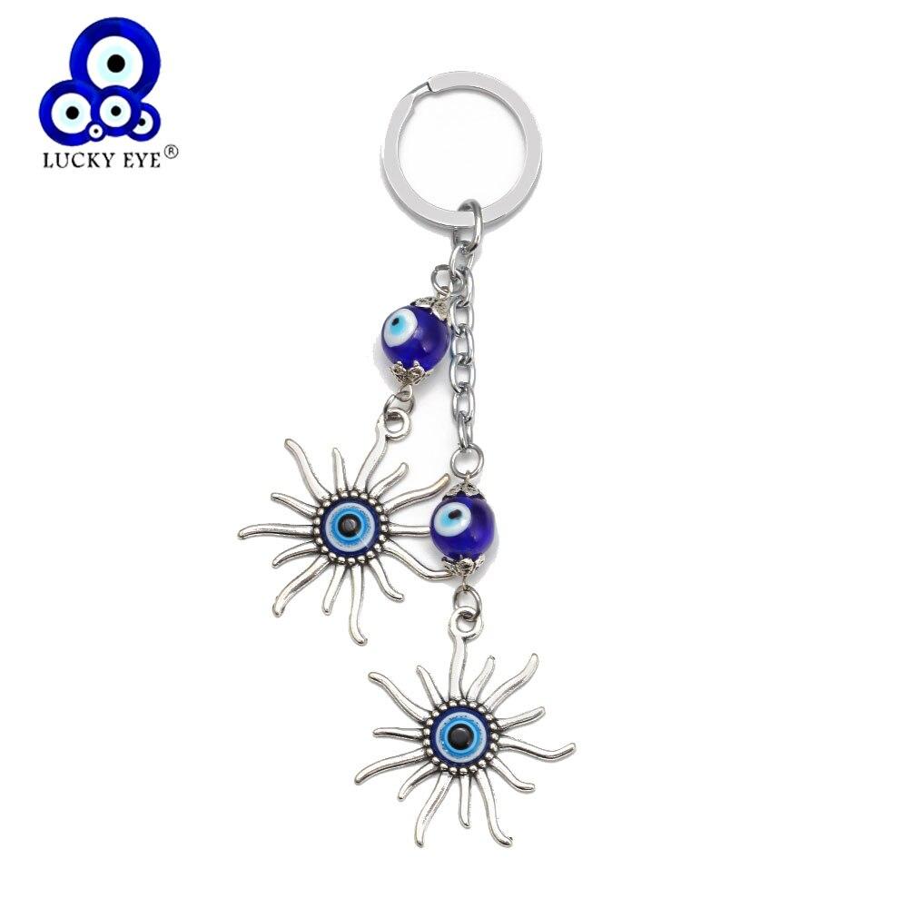 Zon Sleutelhanger Sleutelhanger Evil Eye Bead Geluk Gift Decoratieve Sieraden Accessoires Turkse Sleutelhanger