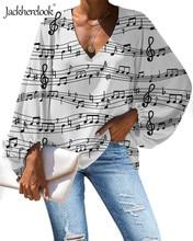 Jackherelook Blusa mujer verano tops con cuello en V camisas música notas piano teclas imprimir Tropical Top Camisetas Mujer ropa Blusa femenina