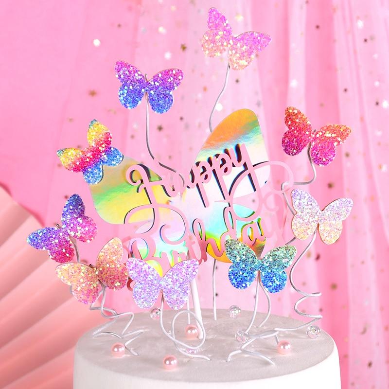 Cakelove Biling Colourful Laser Butterfly Happy Birthday Cake Topper Wedding Bride Dessert Decoration For Birthday Party Love Cake Decorating Supplies Aliexpress