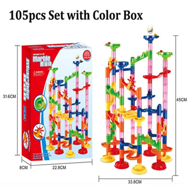 29/80/105pcs Marble Path Marble Race Run Maze Ball Funnel Slide Bricks Toys labyrint Track Ball Toys