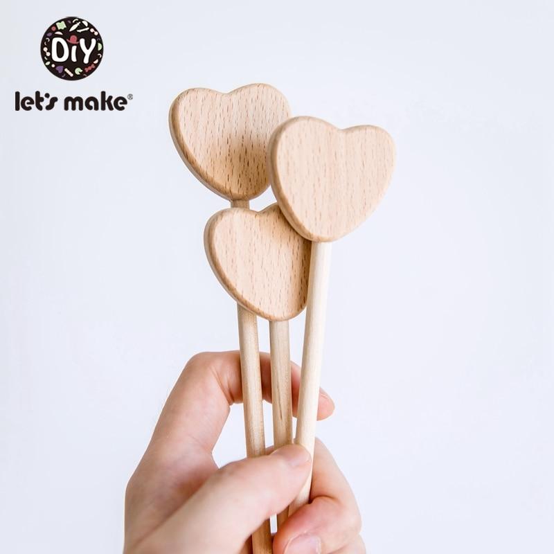 Lets fazer 5 pc carrinho de bebê brinquedos forma do coração varinha mágica de madeira do bebê mordedor de madeira brinquedos 0-12 meses haste minúscula para crianças