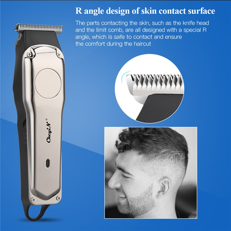 CkeyiNUSB Charging ElectricHairClipperProfessionalLow Noise HairClipperElectricBeard ShaverSideburn TrimmerRazor enlarge