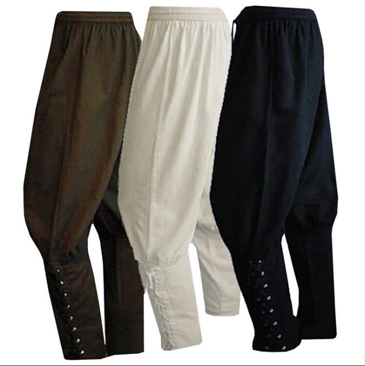 Adult Men Medieval Renaissance Lounge Pirate Horseman Costume Loose Pants Viking Black Brown Navigator Leg Bandage Trouser