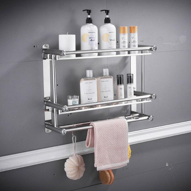 منشفة رف الحمام الفولاذ المقاوم للصدأ الحرة اللكم رف مطبخ ثلاثة طوابق الحمام المرحاض هوك الجدار الشنق