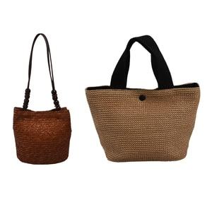 2 Pcs Knitted Straw Bag Summer Bohemia Fashion Women Handbags, Brown & Black