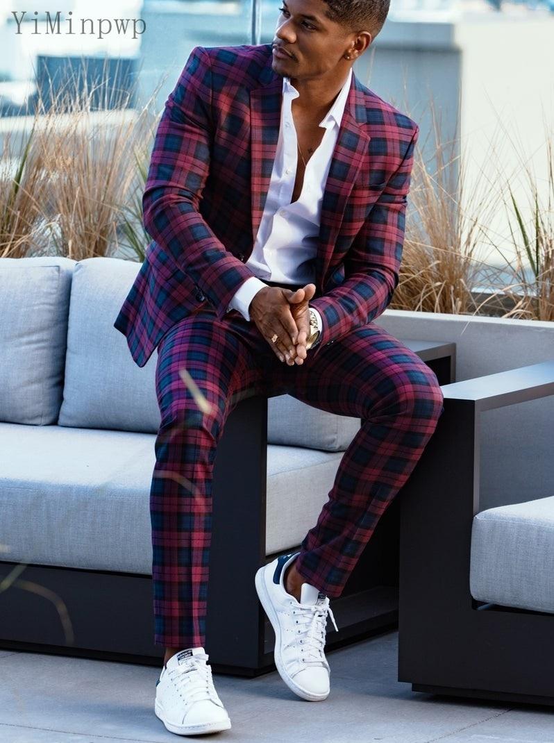 YiMinpwp Plaid Mens Suit Blazer Jacket Men Tuxedos Wedding Suits 2 Piece Prom Suits Slim Fit Costume