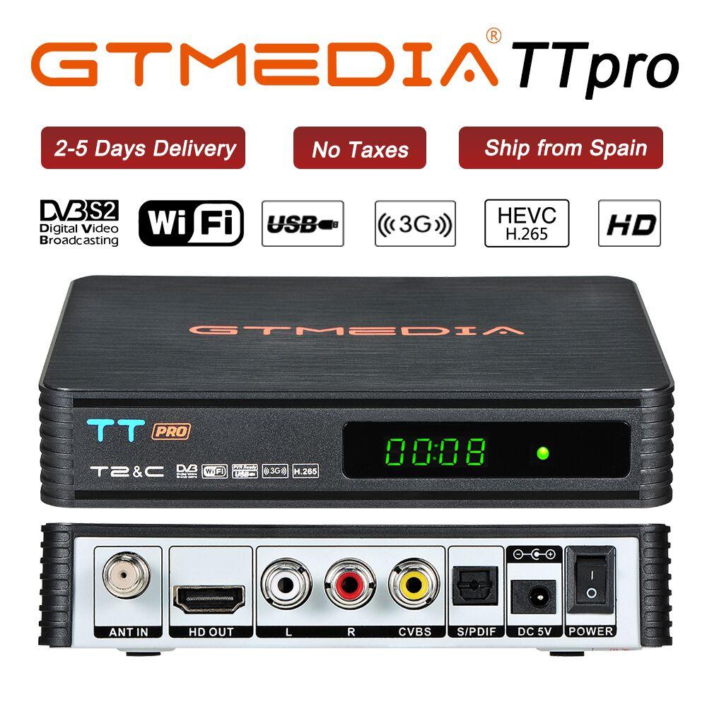 GTmedia TT PRO Rusia Polonia DVB-T2/T DVB-C Receptor H.265 con 1 año de Cccam apoyo Newcam YouTube WIFI USB juego de decodificador caja superior