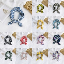 Papillon imprimé fleuri tête-cou Satin soie écharpe 50*50cm Bandana mouchoir cheveux cravate bande carré écharpe ronde chaîne rayures