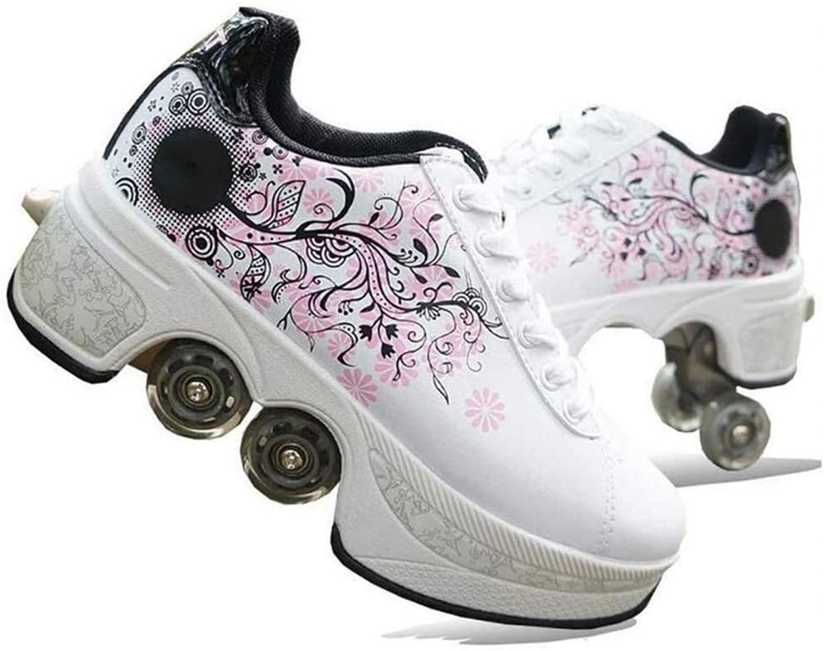 2021 الجلود الوردي زلاجات دوارة تشوه الأحذية مع 4 عجلات الكبار للجنسين حذاء كاجوال الأطفال التزلج أحذية مزدوجة عجلة