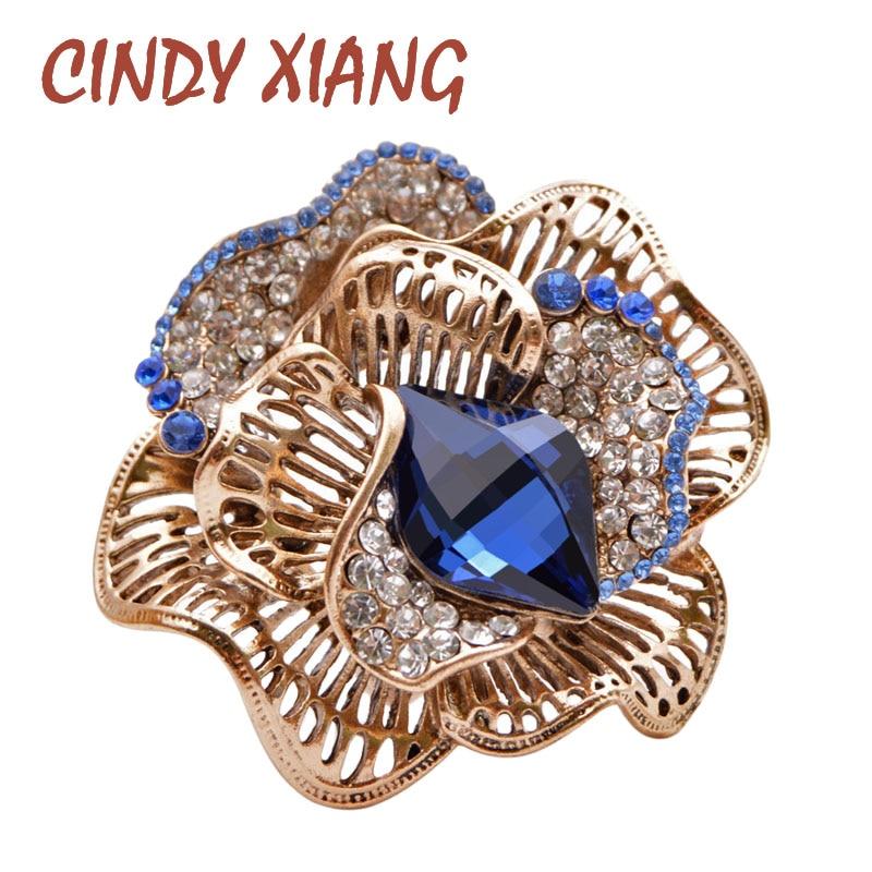 Broches de flores de diamantes de imitación CINDY XIANG para mujer, broche de cristal ahuecado Vintage con broche de moda para invierno, regalo de joyería de diseño