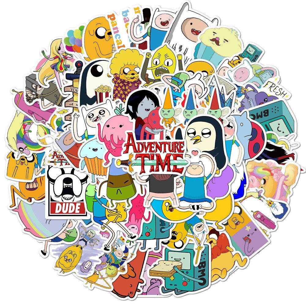 10/30/50/100pcs Adventure Time Cute Cartoon Stickers Graffiti DIY Waterproof Laptop Luggage Scrapbook Skateboard Kid Toy Sticker фото