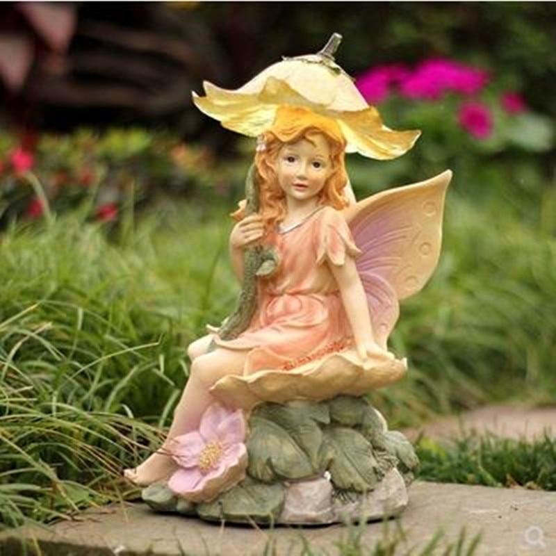Simulation modern European flower fairy girl sculpture, home garden decoration crafts, creative figure statue, birthday gift