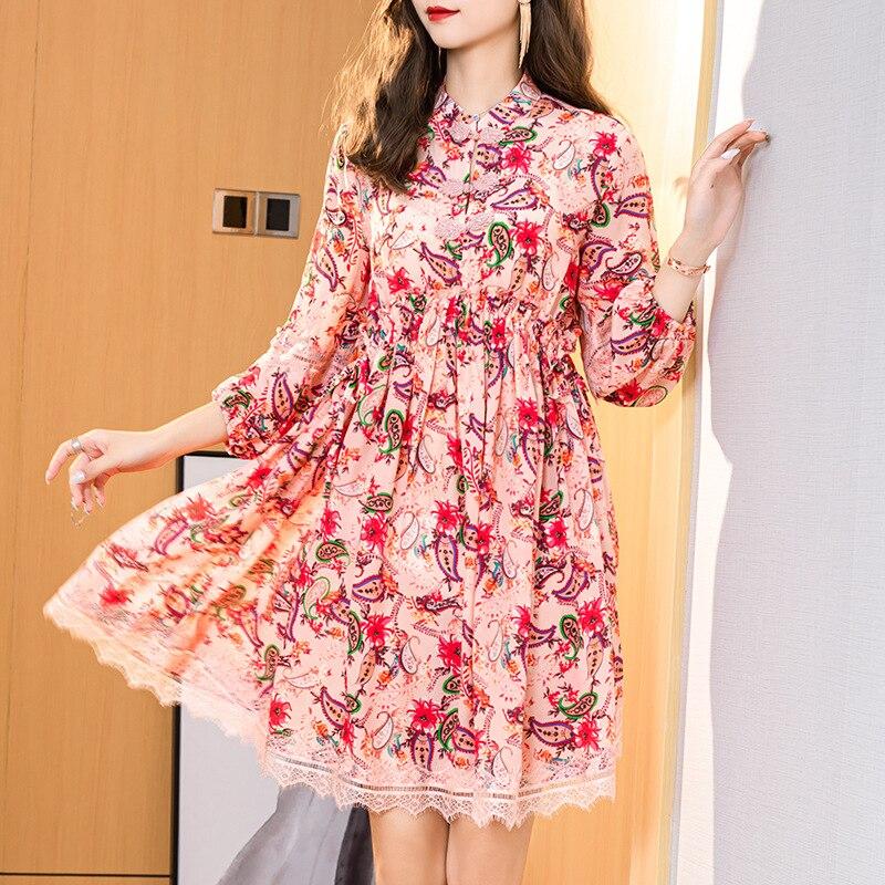 2020 neue Vintage Sommer 100% Echt Silk Kleid Frauen Kleidung Damen Strand Floral Mini Vestidos Koreanische Boho Kurze Party Kleider g04