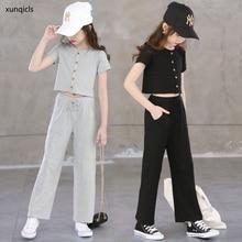 Sommer Kinder Mädchen Kleidung Set Baby Kurzarm T-shirt + hosen 2 stücke Anzug Kinder Sport Outwear Teenger Mädchen Kleidung