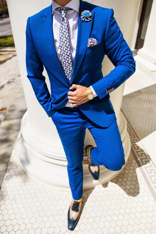 جديد وصول الرجال دعوى الأزرق الذروة التلبيب الأعمال عادية سهرة سهرة 2 قطعة (السترة + السراويل) مخصص رجل دعوى لحفل الزفاف