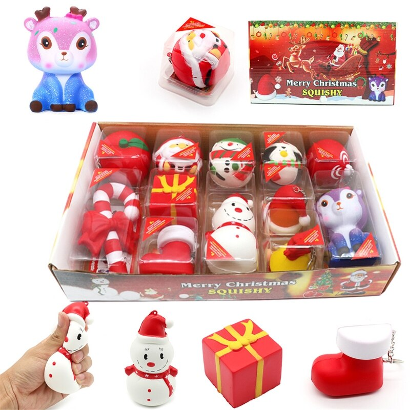 1Box Christmas Gift Xmas Squishy Squeeze Toys Slow Rising Cream Scented Antistress Child Kid Baby Toys