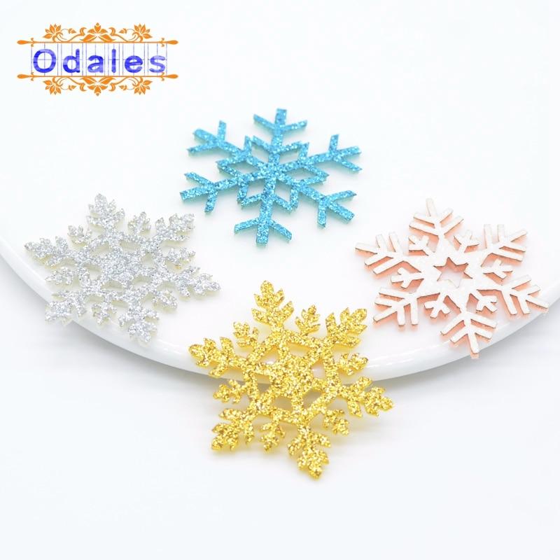 60 teile/lose NEUE Weihnachten Schneeflocke Ome Weihnachten Party Dekorative Patches DIY Glitter Pads Schneeflocke für Weihnachten Geschenk Box/baum