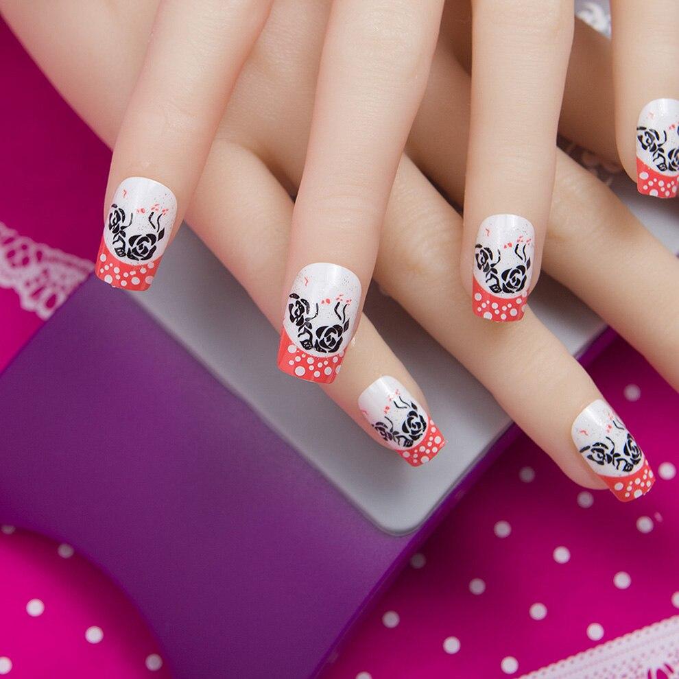 1 Juego de 24 Uds de uñas postizas estampadas a la moda cobertura completa puntas de uñas postizas francesas 10 tamaños de uñas de diseño Acrílico