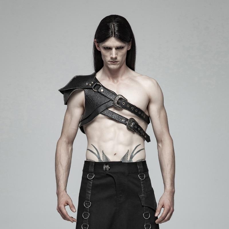 PUNKRAVE Men's Steampunk Armor Punk Retro Thick Pattern Pu Leather Arm Shoulder Pads Halloween Accessories