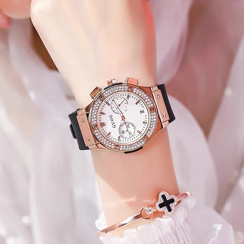 2021 Fashion Women Watches Lady Big Dial Rose Gold Wristwatches Waterproof Rubber Strap Rhinestone Bling Clocks Gifts for Women